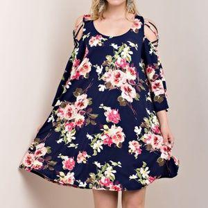 NWOT Kori Cold Shoulder Flower Print Jersey Dress